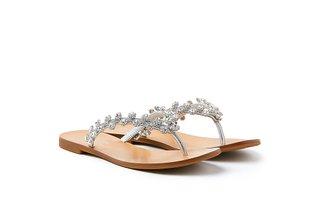 2088-10 Silver Diamante Flower Slides