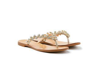 2088-10 Gold Diamante Flower Slides
