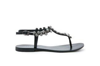 2088-13 Black Diamante Flower T-bar Sandals