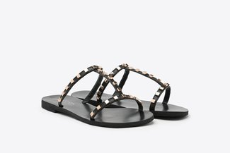 3088-108 Black Gold Square Studs Caged T-bar Leather Slides