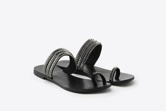 3088-59 Pewter Diamante Stud Toe Strappy Slide Sandals