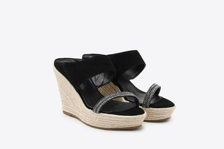 3907-10 Black Diamante Embellished Espadrille Leather Wedges