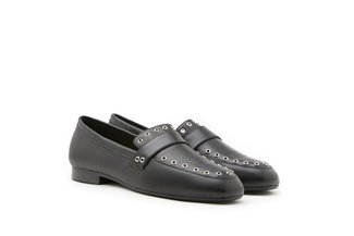 7399-23 Black Eyelet Embellished Leather Round Toe Loafers