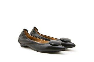8530-23 Black Ornamental Pointed Toe Flats