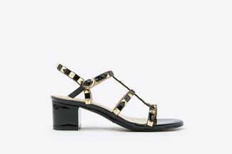 9628-13 Black Gold Studded Cage Block Heels