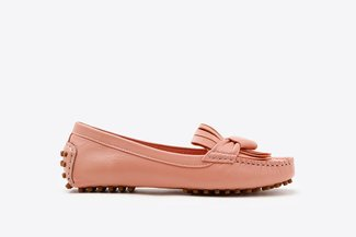 P6-02 Pink Fringe Leather Loafers