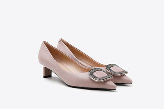 QX06-11A Taupe Crystal Square Buckle Leather Low Heels