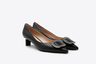 QX06-11A Black Crystal Square Buckle Leather Low Heels