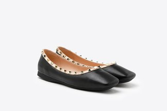 1319-8 Black Gold Studded  Square Toe Leather Flats