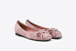 1338-28 Pink Fringe Suede Leather Square Toe Flats