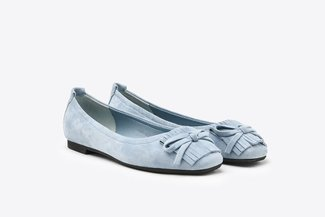 1338-28 Blue Fringe Suede Leather Square Toe Flats