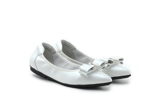 208-20 Beige Bow Tie Pointed Leather Flats