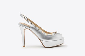 2687-2 Silver Studded Strap Peep Toe Leather Slingback High Heel Platform Sandals