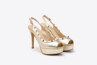 2687-2 Gold Studded Strap Peep Toe Leather Slingback High Heel Platform Sandals