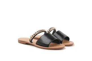 3075-30 Black Chain Embellished Crinkle Slides