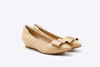 3089-31 Almond Rectangular Bow Pointy Low Leather Wedge Pumps