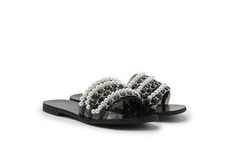 4088-12 Black Pearly Chain Embellished Slides