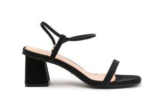 6253A-3 Black Classic Strappy Block Heels