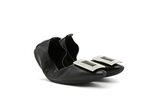 0079-5 Black Glittering Diamante Buckle Foldable Flats