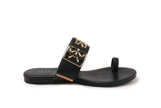 1081-5 Black Aztec Detailed Toe Strappy Leather Slide Sandals