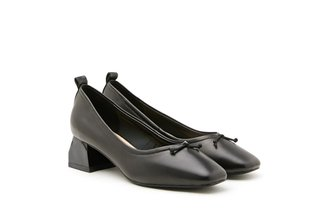 3319-2 Black Classic Ribbon Leather Pumps