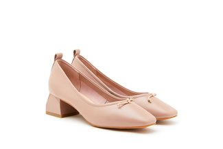 3319-2 Pink Classic Ribbon Leather Pumps