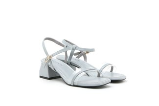 3518-7 Grey Pastel Clear Strap Leather Block Heels