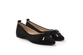 39-1 Black Bow Embellished Knit Pointed Flats