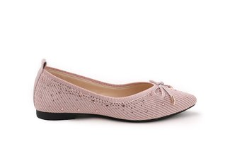 39-1 Pink Bow Embellished Knit Pointed Flats
