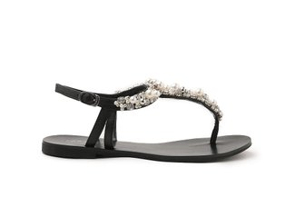 4088-29 Black Pearly T-Bar Sandals