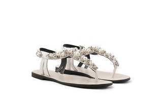 4088-29 White Pearly T-Bar Sandals