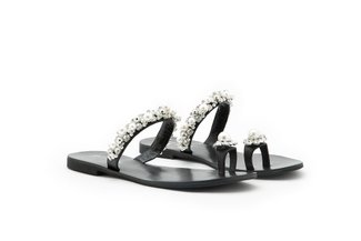4088-30 Black Pearl Diamante Flower Toe Ring Slides
