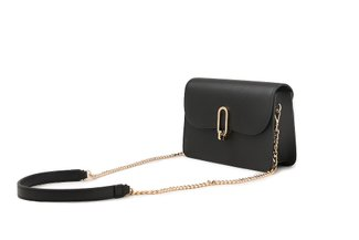 87248 Black Boxy Turn Lock Leather Bag