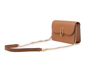 87248 Camel Boxy Turn Lock Leather Bag