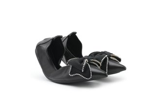 9550-22 Black Oversized Sparkling Bow Leather Foldable Flats
