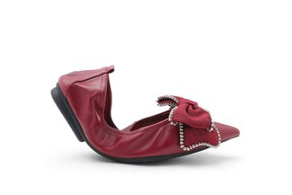 9550-22 Wine Oversized Sparkling Bow Leather Foldable Flats