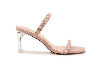 F103-6 Pink Diamante Embellished Multi Strap Crystal Sandal Heels