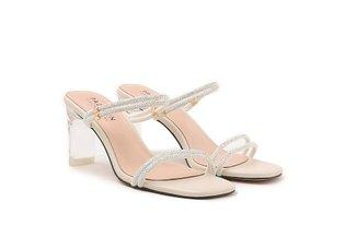 F103-6 Beige Diamante Embellished Multi Strap Crystal Sandal Heels