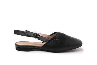 JA-02 Black Elastic Slingback Leather Flats