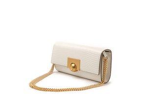 11092 Beige Snake Effect Textured Long Handbag