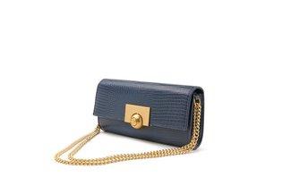 11092 Dark Blue Snake Effect Textured Long Handbag