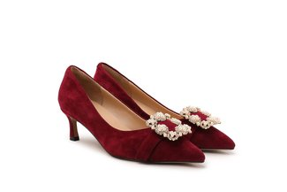 1891-1 Maroon Buckled Pointed Suede Heels