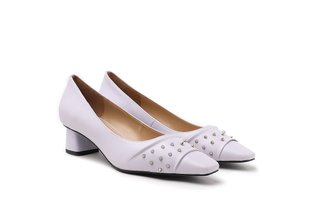 1902-10 Light Purple Studs Embellished Square Toe Leather Block Heels