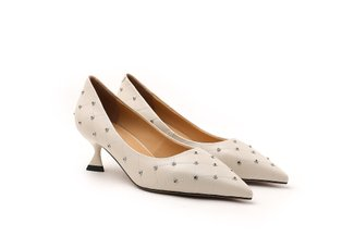 2079-01 Beige Diamante Studded Pointy Heels