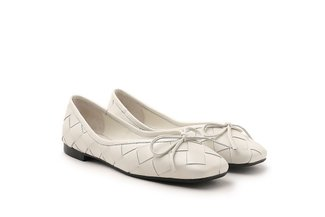 2088-1B Beige Dainty Bow Weave Leather Flats
