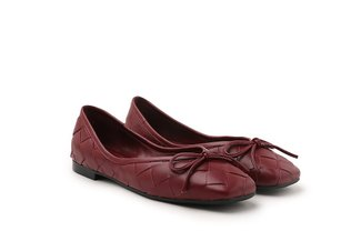 2088-1B Wine Dainty Bow Weave Leather Flats