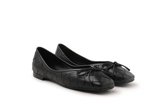 2088-1B Black Dainty Bow Weave Leather Flats