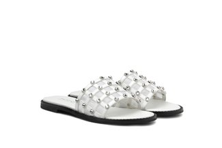 3628-30 White Bejewelled Cage Mesh Slide Sandals