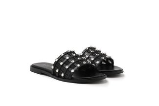 3628-30 Black Bejewelled Cage Mesh Slide Sandals