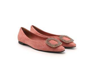 8728-119 Pink Crystal Buckle Embellished Suede Flats
